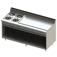 Blodgett BR-4-48GT-NAT Natural Gas 4 Burner 72 inch Thermostatic Range with 48 inch Right Griddle and Cabinet Base - 216,000 BTU