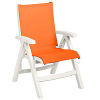 Grosfillex US194004 Belize White Midback Folding Resin Outdoor Sling Chair with Orange Seat - 2/Pack