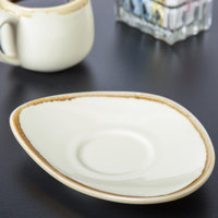 Arcoroc FJ557 Terrastone 6 3/8 inch x 4 7/8 inch White Porcelain Saucer by Arc Cardinal - 48/Case