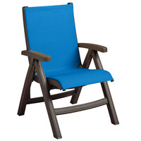 Grosfillex US550037 Belize Bronze Mist Midback Folding Resin Outdoor Sling Chair with Spa Blue Seat - 2/Pack