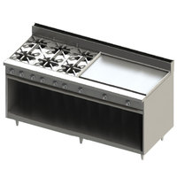 Blodgett BR-6-36GT-NAT Natural Gas 6 Burner 72 inch Thermostatic Range with 36 inch Right Griddle and Cabinet Base - 252,000 BTU