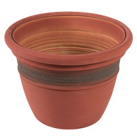 Grosfillex US336442 Cordoba 16 inch Clay Red Planter - 5/Pack