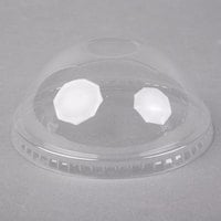 Choice 32 oz. Clear Plastic Dome Lid with Hole - 50/Pack