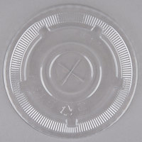 Choice 32 oz. Clear Plastic Flat Lid with Straw Slot   - 50/Pack