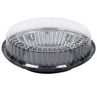 D&W Fine Pack J45-1 10 inch Black Pie Take Out Container with Clear High Dome Lid - 160/Case