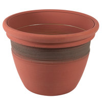 Grosfillex US447442 Cordoba 23 inch Clay Red Planter - 3/Pack