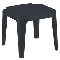 Grosfillex US599902 / US529602 Miami 17 inch x17 inch Charcoal Resin Low Table