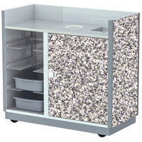 Lakeside 4612 49 1/2 inch Gray Sand Laminate Four Tub Mobile Bussing / Waitress Station