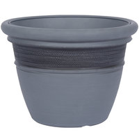 Grosfillex US440596 Cordoba 20 inch Brushed Smoke Planter - 3/Pack