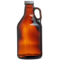 Libbey 70216 32 oz. Customizable Amber Growler with Lid - 12/Case