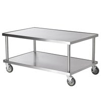 Vollrath 4087924 24 inch x 30 inch Stainless Steel Heavy Duty Mobile Equipment Stand with Undershelf and Casters