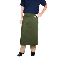 Choice Hunter Green Bistro Apron with Pocket - 34 inchL x 30 inchW