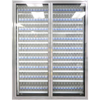 Styleline CL2672-HH 20//20 Plus 26 inch x 72 inch Walk-In Cooler Merchandiser Doors with Shelving - Anodized Satin Silver, Left Hinge - 2/Set