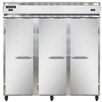 Continental Refrigerator 3RFF 78 inch Solid Door Dual Temperature Reach-In Refrigerator / Freezer / Freezer - 68 cu. ft.