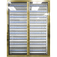 Styleline CL2672-2020 20//20 Plus 26 inch x 72 inch Walk-In Cooler Merchandiser Doors with Shelving - Anodized Bright Gold, Right Hinge - 2/Set