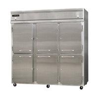 Continental Refrigerator 3RFF-SS-HD 78 inch Half Door Dual Temperature Reach-In Refrigerator / Freezer / Freezer - 68 cu. ft.