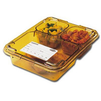 Cambro 853FHC150 Amber Heat Resistant Tray on Tray Insert Tray Lid 8 11/16 inch x 6 5/16 inch - 24 /Case