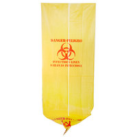 44 Gallon 37 inch X 50 inch Yellow Infectious Linen High Density Isolation Medical Waste Bag / Biohazard Bag 17 Microns - 200/Case