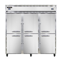 Continental Refrigerator 3RRF-HD 78 inch Half Door Dual Temperature Reach-In Refrigerator / Refrigerator / Freezer - 68 cu. ft.