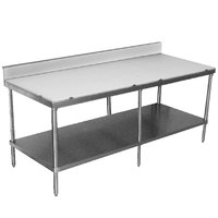 Advance Tabco SPS-2410 Poly Top Work Table 24 inch x 120 inch with Undershelf and 6 inch Backsplash