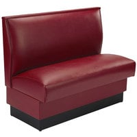 American Tables and Seating QAS-36 ARM-120--M 36 inch Sangria Plain Single Back Fully Upholstered Booth - Quick Ship