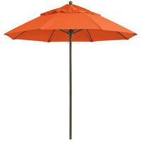 Grosfillex 98301931 Windmaster 7 1/2' Orange Fiberglass Umbrella with 1 1/2 inch Aluminum Pole