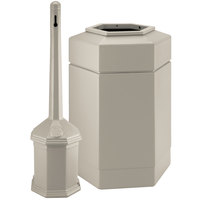 Commercial Zone 715202 PolyTec 30 Gallon Beige Hexagonal Trash Can with Site Saver 5 Qt. Cigarette Receptacle