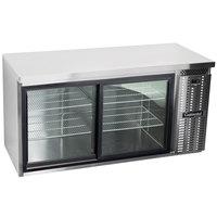 Continental Refrigerator BB59NSSSGD 59 inch Stainless Steel Sliding Glass Door Back Bar Refrigerator