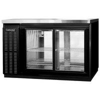 Continental Refrigerator BBC50-SGD-PT 50 inch Black Pass-Through Sliding Glass Door Back Bar Refrigerator