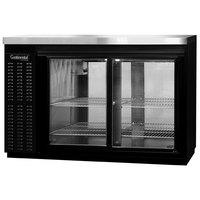 Continental Refrigerator BBC50S-SGD-PT 50 inch Black Shallow Depth Pass-Through Sliding Glass Door Back Bar Refrigerator
