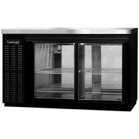 Continental Refrigerator BB59SNSGDPT 59 inch Black Shallow Depth Pass-Through Sliding Glass Door Back Bar Refrigerator