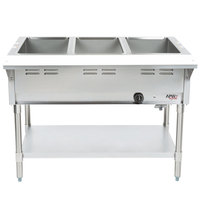 APW Wyott GST-3S Champion Liquid Propane Open Well Three Pan Gas Steam Table - Stainless Steel Undershelf and Legs