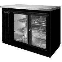 Continental Refrigerator BB50SNSGD 50 inch Black Shallow Depth Sliding Glass Door Back Bar Refrigerator