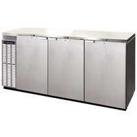 Continental Refrigerator BBC90S-SS-PT 90 inch Stainless Steel Shallow Depth Pass-Through Solid Door Back Bar Refrigerator