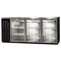 Continental Refrigerator BBC79S-GD-PT 79 inch Black Shallow Depth Pass-Through Glass Door Back Bar Refrigerator