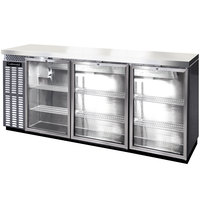 Continental Refrigerator BBC90-SS-GD-PT 90 inch Stainless Steel Pass-Through Glass Door Back Bar Refrigerator