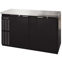 Continental Refrigerator BB69SNPT 69 inch Black Shallow Depth Pass-Through Solid Door Back Bar Refrigerator