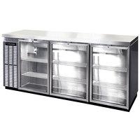 Continental Refrigerator BBC79S-SS-GD-PT 79 inch Stainless Steel Shallow Depth Pass-Through Glass Door Back Bar Refrigerator