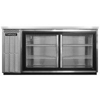 Continental Refrigerator BB69NSSSGD 69 inch Stainless Steel Sliding Glass Door Back Bar Refrigerator