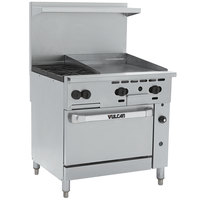 Vulcan 36S-2B24GTN Endurance Natural Gas 2 Burner 36 inch Range with 24 inch Thermostatic Griddle and Standard Oven Base - 135,000 BTU