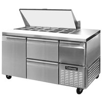 Continental Refrigerator CRA60-18M-D 60 inch 1 Door 2 Drawer 1 Half Door Mighty Top Refrigerated Sandwich Prep Table