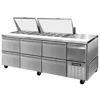 Continental Refrigerator CRA93-27M-D 93 inch 6 Drawer 1 Half Door Mighty Top Refrigerated Sandwich Prep Table