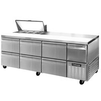 Continental Refrigerator CRA93-8-D 93 inch 6 Drawer 1 Half Door Refrigerated Sandwich Prep Table