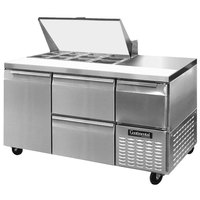 Continental Refrigerator CRA60-12M-D 60 inch 1 Door 2 Drawer 1 Half Door Mighty Top Refrigerated Sandwich Prep Table