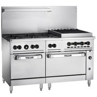 Vulcan 60SS-6B24CBP Endurance Liquid Propane 6 Burner 60 inch Range with 24 inch Charbroiler and 2 Standard Ovens - 302,000 BTU
