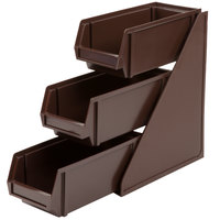 Vollrath 4843-01 Traex Brown Self-Serve Condiment Bin Stand Set with 3-Tier Stand and 11 1/4 inch Condiment Bins
