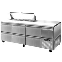 Continental Refrigerator CRA93-12-D 93 inch 6 Drawer 1 Half Door Refrigerated Sandwich Prep Table