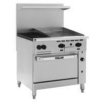 Vulcan 36S-2B24GN Endurance Natural Gas 2 Burner 36 inch Range with 24 inch Manual Griddle and Standard Oven Base - 135,000 BTU