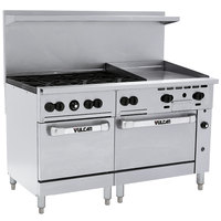 Vulcan 60SS-6B24GTP Endurance Liquid Propane 6 Burner 60 inch Range with 24 inch Thermostatic Griddle and 2 Standard Ovens - 278,000 BTU
