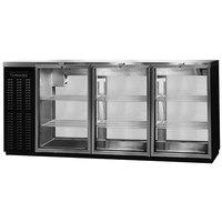 Continental Refrigerator BBUC79S-GD-PT 79 inch Black Glass Door Shallow Depth Pass-Through Undercounter Back Bar Refrigerator